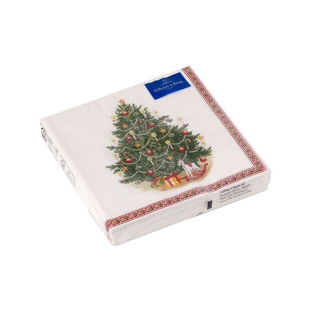 Winter Specials cocktail napkin Christmas tree, green/multicoloured, 20 pieces, 25 x 25 cm, , large