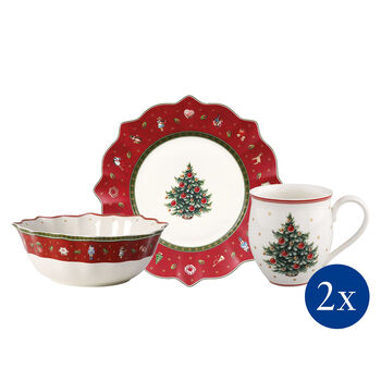 Toy's Delight Breakfast for 2 red, set 6pcs 36x25x14cm