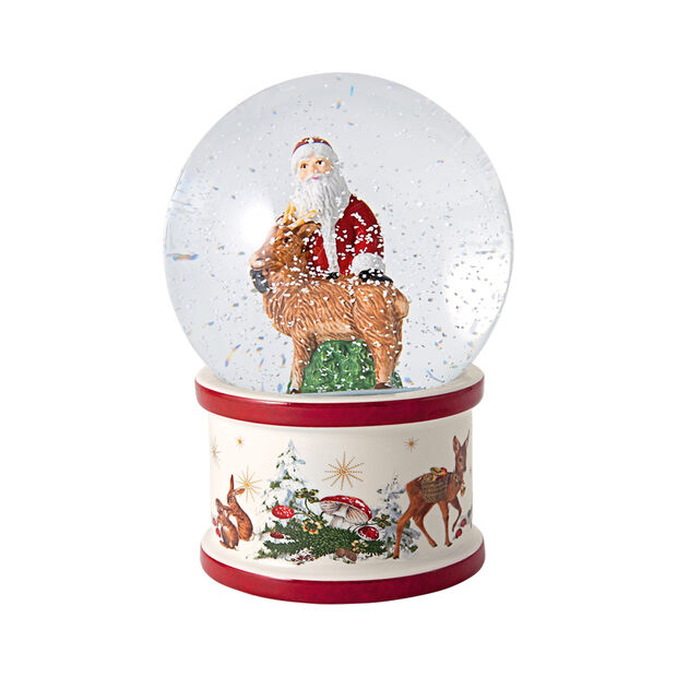 Christmas Toys large snow globe Santa and stag, 13 x 13 x 17 cm, , large