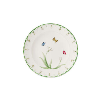 Colourful Spring bread plate, white/green