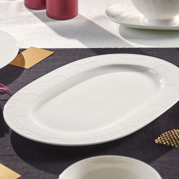 White Pearl oval plate 35 cm, , large