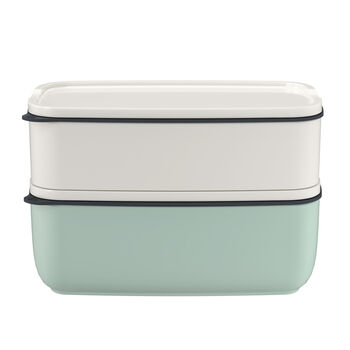 ToGo&ToStay lunch box set, 2 pieces, rectangular, white/mint green