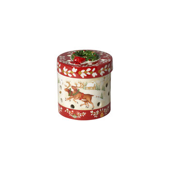 Christmas Toy's small round gift box, red/multicoloured, 9.5 cm