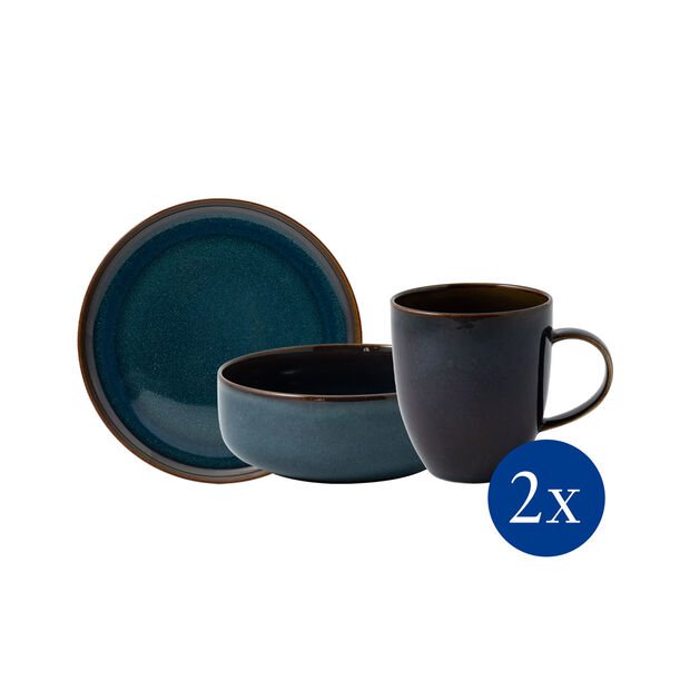 Crafted Denim breakfast set, blue, 6 pieces, , large