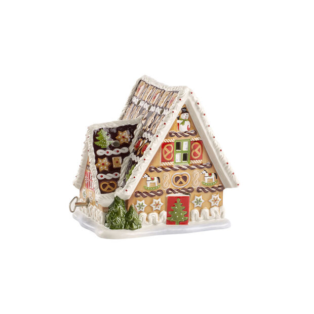 Christmas Toys gingerbread house with music box, , large