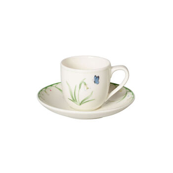 Colourful Spring espresso cup with saucer, white/green