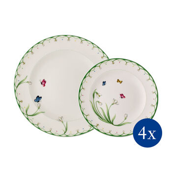 Colourful Spring plate set, 8 pieces, for 4 people