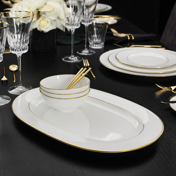 Anmut Gold oval plate, 41 cm, white/gold, , large