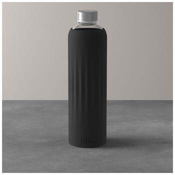 ToGo&ToStay glass bottle, 1 l, with silicone sleeve, black