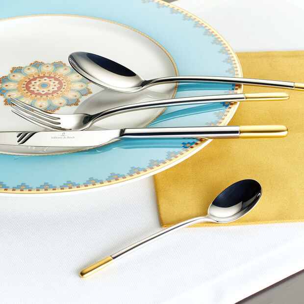 Ella partially gold-plated cutlery set, 5 pieces, for 1 person, , large