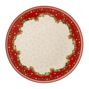 Winter Bakery Delight round holly cake plate