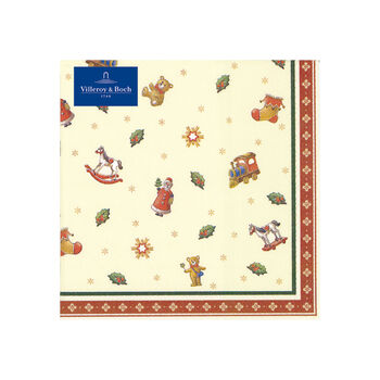 Winter Specials Toys cocktail napkin scattered motifs, green/red/gold, 20 pieces, 25 x 25 cm