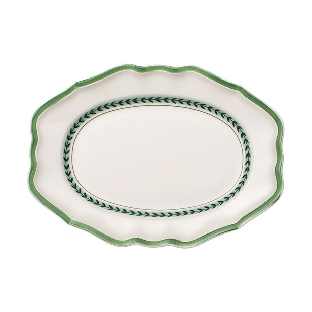French Garden Green Line oval plate, , large