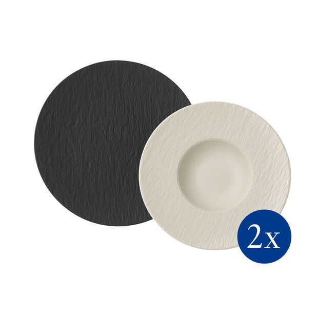 Manufacture Rock pasta set, 4 pieces, for 2 people, black/white, , large