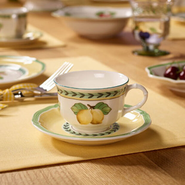 French Garden Fleurence tea cup and saucer 2 pieces, , large