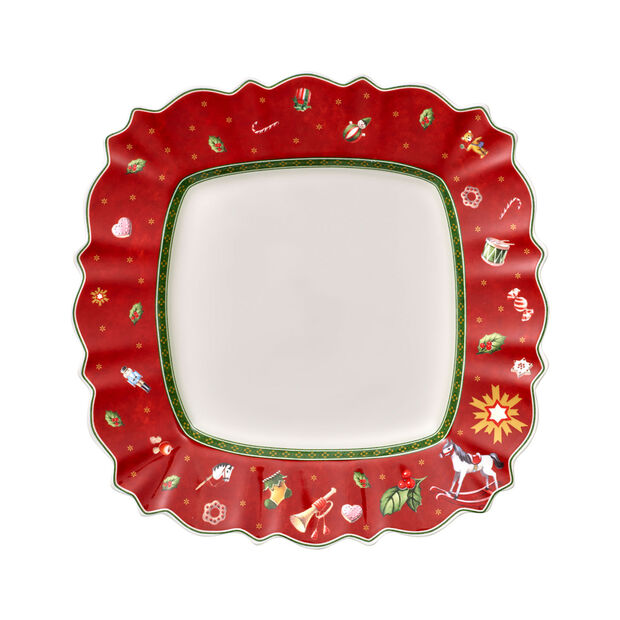 Toy's Delight square dinner plate, red/multicoloured, 28 x 28 cm, , large