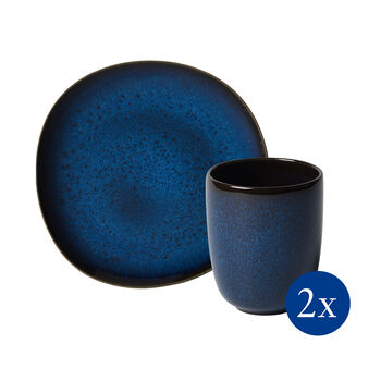 Lave breakfast set, 4 pieces, for 2 people, blue