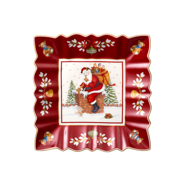 Toy's Fantasy square bowl Santa on roof, red/multicoloured, 23 x 23 x 3.5 cm, , large