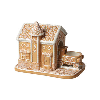 Winter Bakery Decoration gingerbread train station, brown/white, 20 x 13 x 16 cm