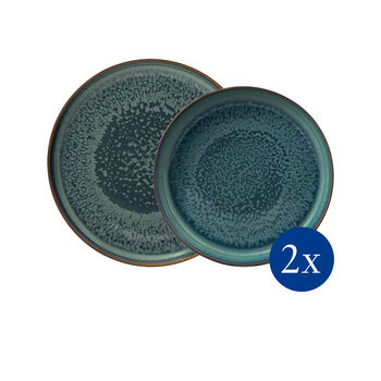 Crafted Breeze dinner set, grey-blue, 4 pieces