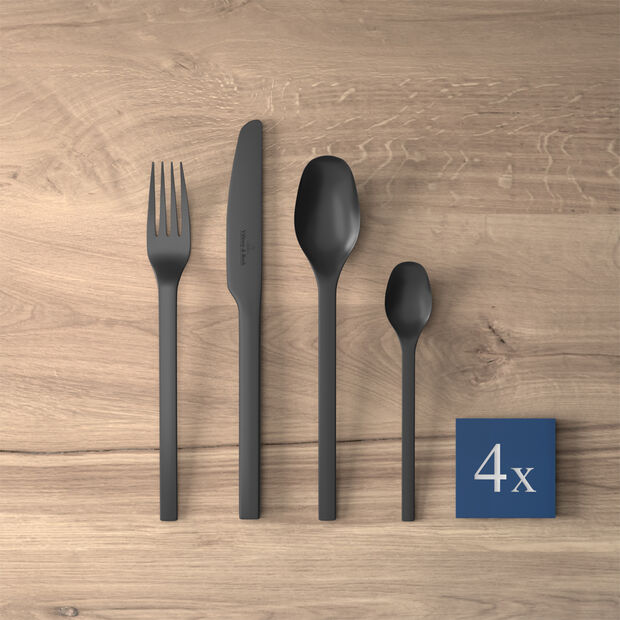 Manufacture Rock table cutlery, for 4 people, 16 pieces, Black, , large